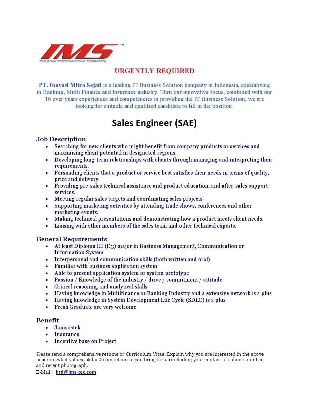 Pt Ims Sales Engineer Kantor Kemahasiswaan Alumni Dan Campus Ministry