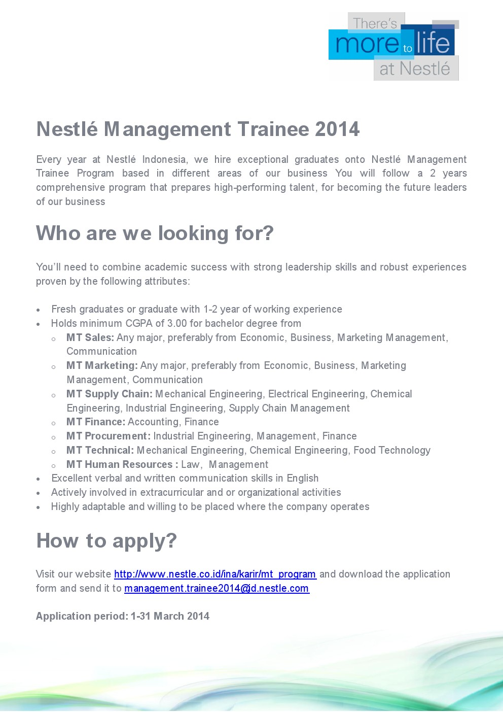 management trainee nestle 45 nestlé trainee jobs search job openings, see if they fit - company salaries, reviews, and more posted by nestlé employees.
