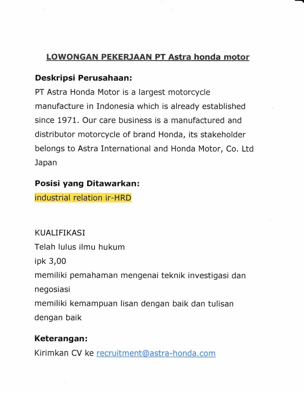 Pt Astra Honda Motor Industrial Relation Kantor Kemahasiswaan
