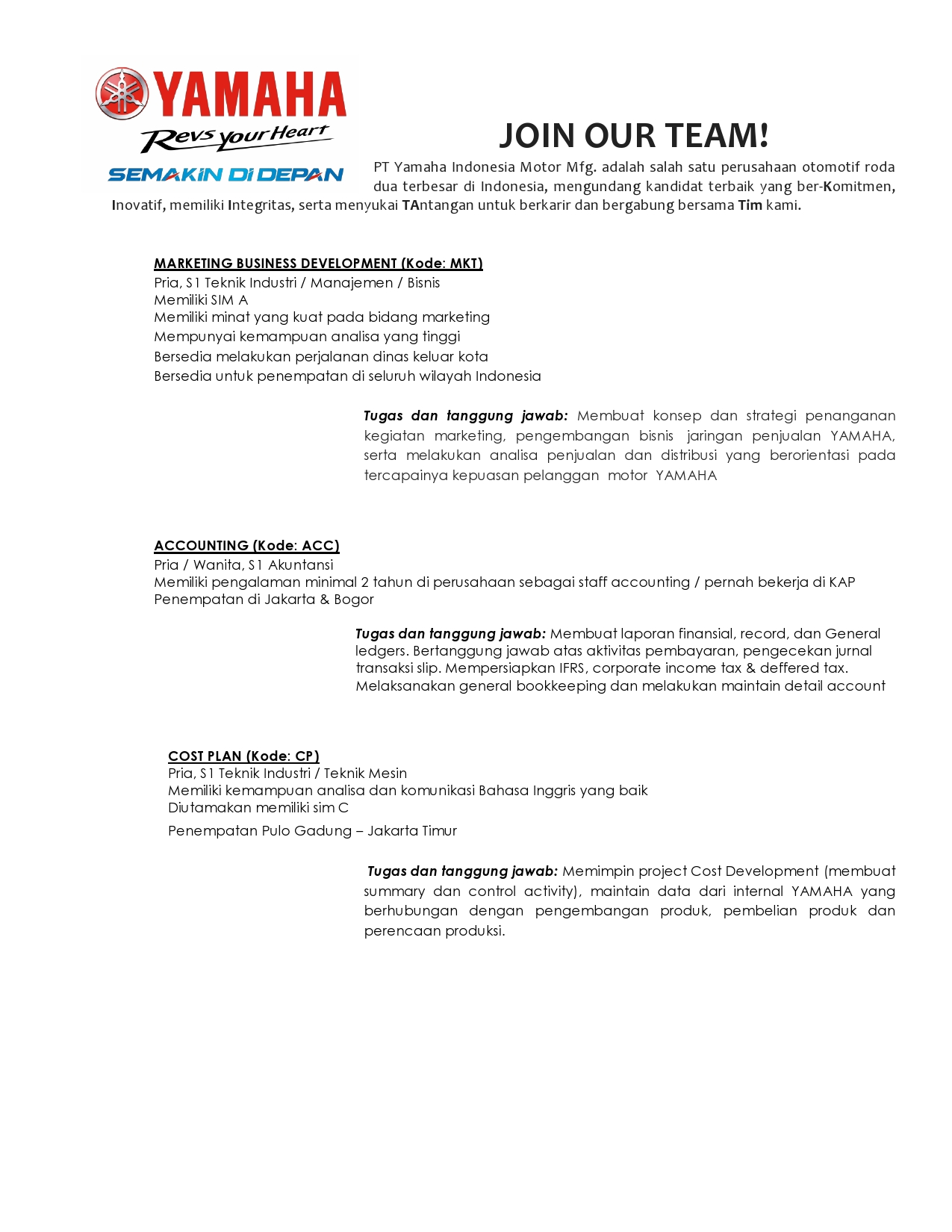 Pt Yamaha Indonesia Motor Mfg Kantor Kemahasiswaan Alumni Dan Campus Ministry