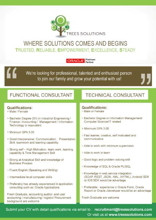 19. PT Trees Solutions - Job Vacancy Technical & Functional Consultant PT Trees Solutions