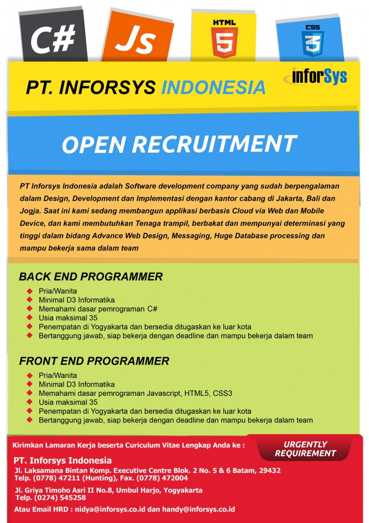 4. PT. INFORSYS - JOB VACANCY FOR PT