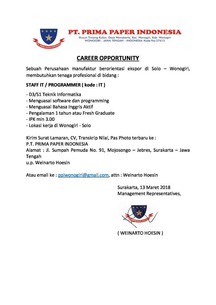 Pt Prima Paper Indonesia Kantor Kemahasiswaan Alumni Dan Campus Ministry